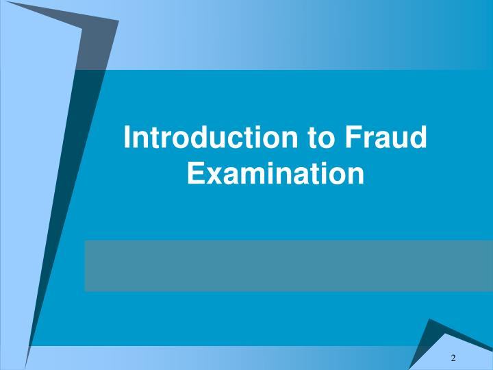 training Introduction To Fraud Examination